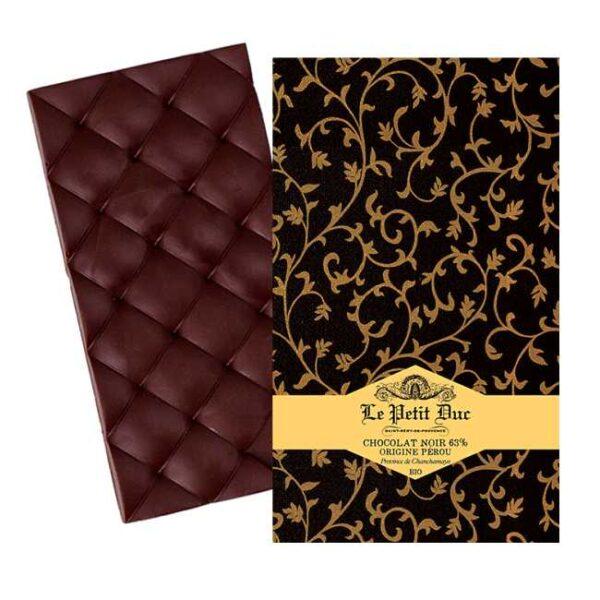 Økologisk, mørk sjokolade med kakaobønner fra Peru, produsert av provensalske Le Petit Duc