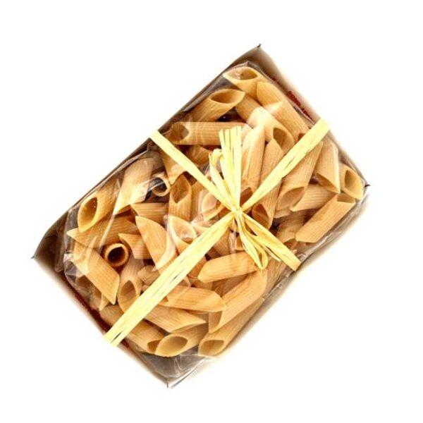 500 g penne rigate av durumhvete produsert i Abruzzo, Italia, i koselig eske