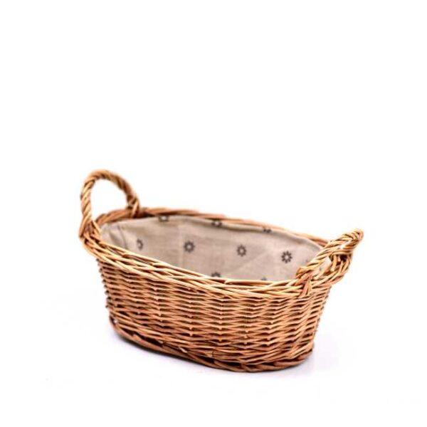 Liten brødkurv med linfôr. Mål: 24x18xH9 cm
