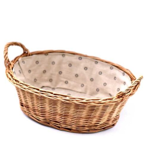 Stor brødkurv med linfôr. Mål: 37x27xH12 cm