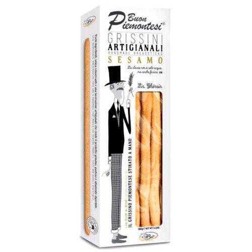 180 g håndlagde brødpinner med sesam, produsert i Italia