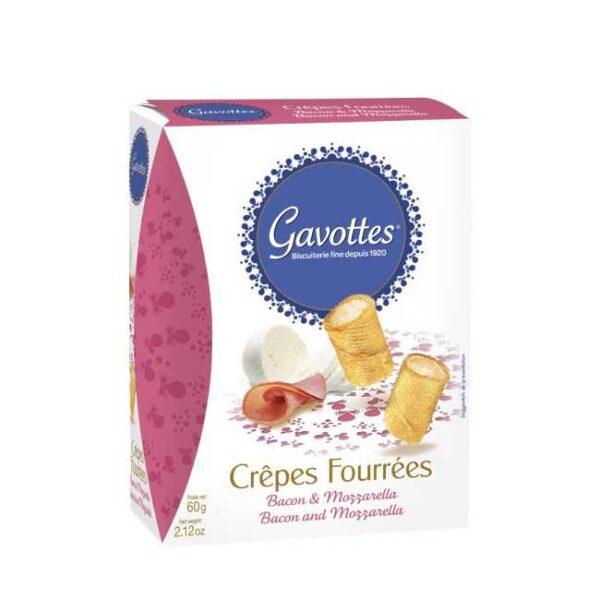 """60 g """"Crêpes fourrées"""": Søtsalte crepeschips fylt med bacon og mozzarella"""