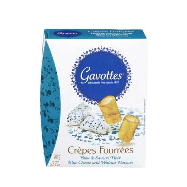 """60 g """"Crêpes fourrées"""": Søtsalte crepeschips fylt med blåmuggost og valnøtt"""
