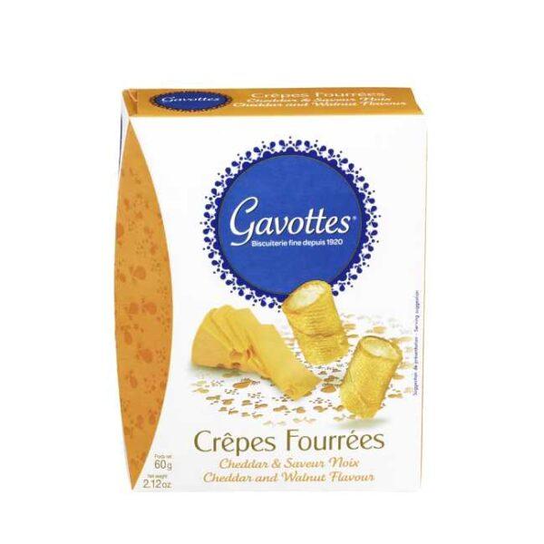 """60 g """"Crêpes fourrées"""": Søtsalte crepeschips fylt med cheddar (ost) og valnøtt"""
