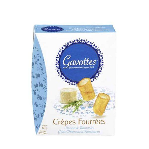 """60 g """"Crêpes fourrées"""": Søtsalte crepeschips fylt med chèvre (geitost) og rosmarin"""