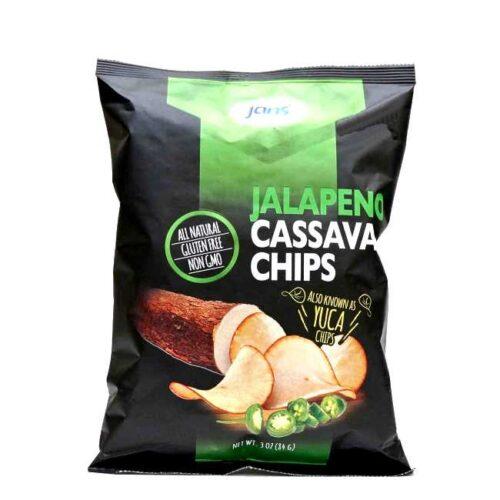 84 g chips av maniok (kassava) med jalapeñoschili fra Jans (USA)