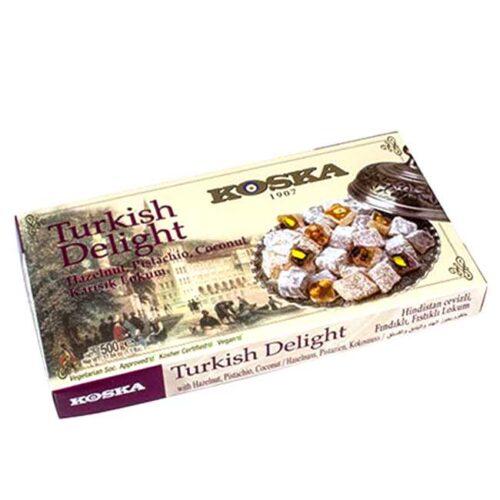 Stor eske (500 g) med tyrkiske lokum (Turkish Delight) med blandede nøtter