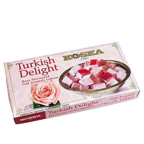 Stor eske (500 g) med tyrkiske lokum (Turkish Delight) med smak av rosekronblader