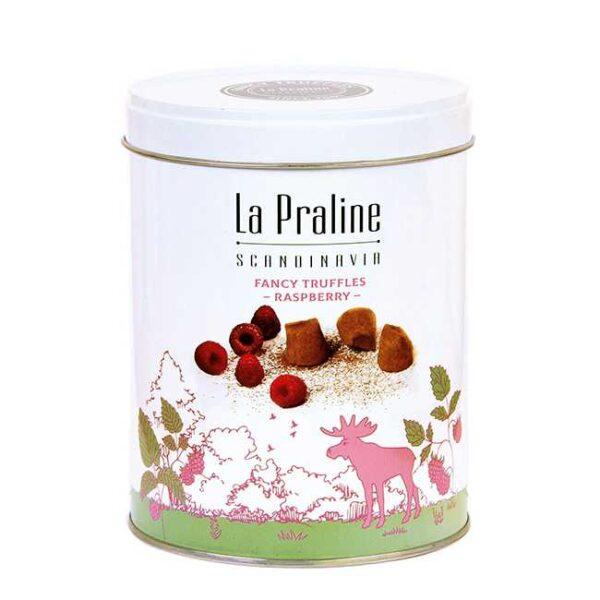 200 g sjokoladetrøfler med bringebær, i en lekker boks fra La Praline