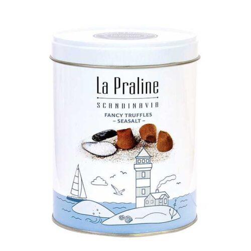 200 g sjokoladetrøfler med havsalt, i en lekker boks fra La Praline