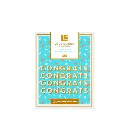 """75 g engelsk honningsjokolade med gratulasjonshilsen """"Congrats"""""""