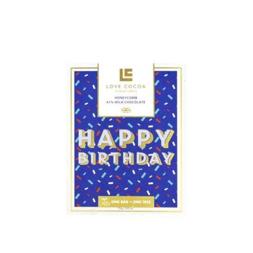 """75 g engelsk honningsjokolade med bursdagshilsen """"Happy birthday"""""""
