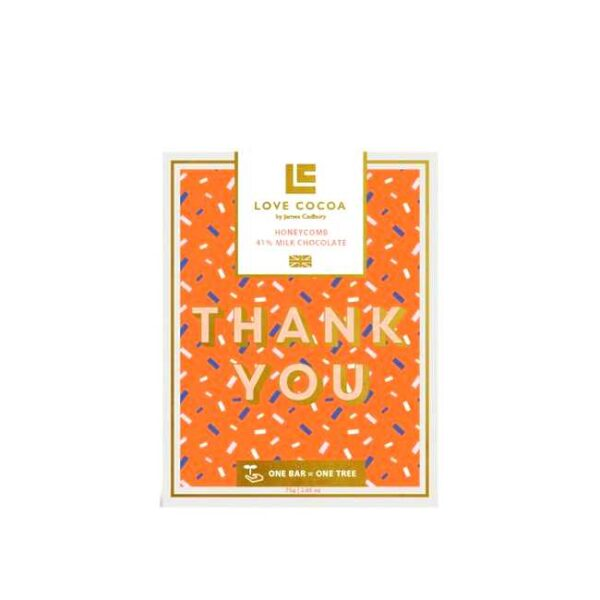 """75 g engelsk honningsjokolade med takkehilsen """"Thank you"""""""