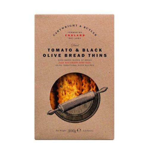 Flatbrød (bread thins) med tomat og sorte oliven, fra engelske Cartwright & Butler