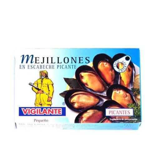 Spanske blåskjell i småsterk chilisalsa på boks, 115 g