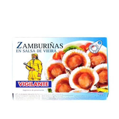 115 g tilberedte kamskjell i spansk salsa (zamburiñas en salsa vieira)