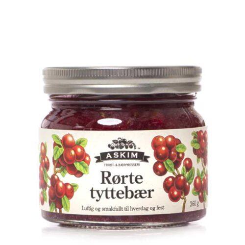 360 g norske rørte tyttebær fra Askim Frukt- & Bærpresseri