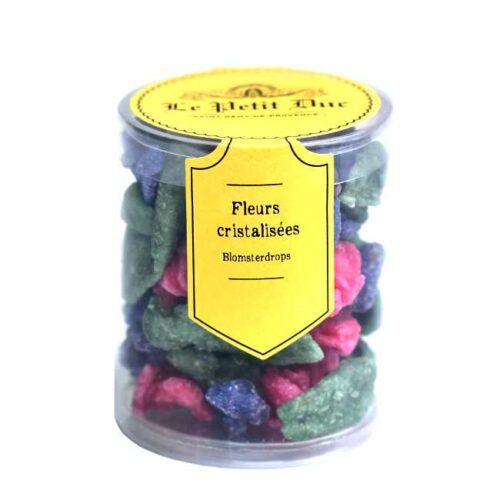70 g Fleurs et feuilles cristalisées (krystalliserte blader og kronblader), produsert i Provence av Le Petit Duc