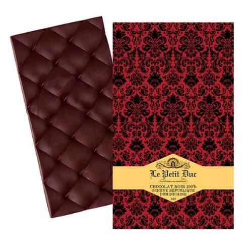 Økologisk, mørk sjokolade laget av kakaobønner fra Den dominikanske republikk, produsert av provensalske Le Petit Duc