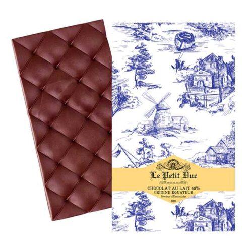 Økologisk melkesjokolade laget av kakaobønner fra Ecuador, produsert av provensalske Le Petit Duc