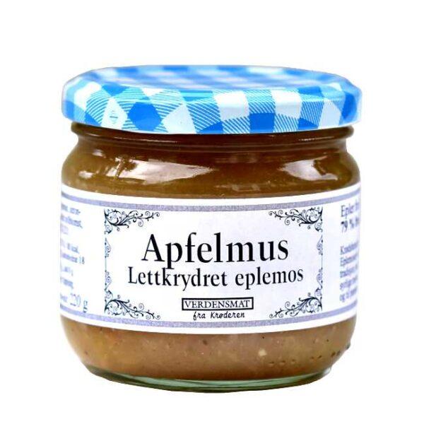 220 g lettkrydret eplemos (med eplekrydder og vanilje). Produsert på Krøderen, med epler fra hager på Krøderen.