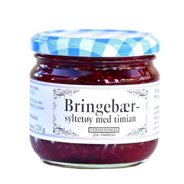 220 g bringebærsyltetøy krydret med timian. Produsert på Krøderen, med bær fra Krøderen.